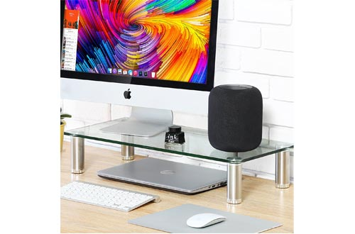 FITUEYES clear Computer Monitor Stand TV Shelf Risers Printer Machine Stand4.7'' High 23.6'' Save Space Desktop Elevated TV Stand for Xbox One/component/flat Screen TV DT106006GC