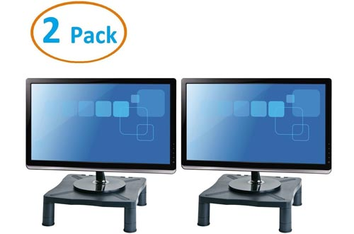 """Halter Height Adjustable Monitor Stand - Printer Stand - Desk Shelf - Monitor Riser For Screens Up To 24"""" (24 Inches) - 2 Pack"""