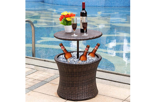 Sundale Outdoor 7.5 Gallon Deluxe Patio Pool Cooler Table