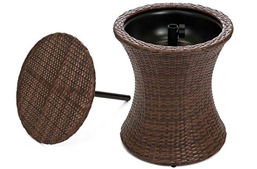 Best Choice Products 7.5 Gallon All-Weather Wicker Ice Bucket Hourglass Round Side Bar Table