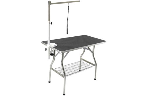 "Flying Pig 38"" Medium Size Heavy Duty Stainless Steel Frame Foldable Dog Pet Grooming Table (38"" x 22"")"