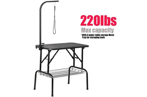 "Yaheetech Professional 32"" Foldable Pet Grooming Table W/Arm & Noose & Mesh Tray, Maximum Capacity Up to 220lbs"