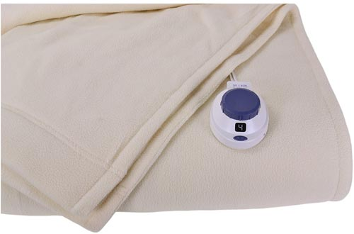 SoftHeat Luxury Micro-Fleece Low-Voltage Electric Heated Twin Size Blanket, Natural