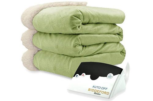 Biddeford 6001-9051136-635 Electric Heated Micro Mink/Sherpa Blanket, Full, Sage