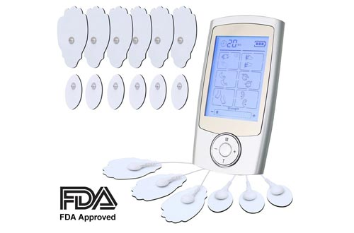 loverbeby Rechargeable Tens Unit Muscle Stimulator Electronic Pulse Massager with 16 Modes and 12 Pads Portable Smart Electro Pain relief Machine