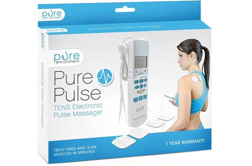 PurePulse Electronic Pulse Massager - Portable, Handheld Tens Unit Muscle Stimulator for Pain Management