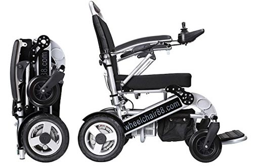 Foldawheel PW-1000XL Power Chair (2 years global warranty) weighs just 57 lbs with battery - Opens & folds in 2 seconds. This electric motorized wheelchair comes with a thick durable travel bag