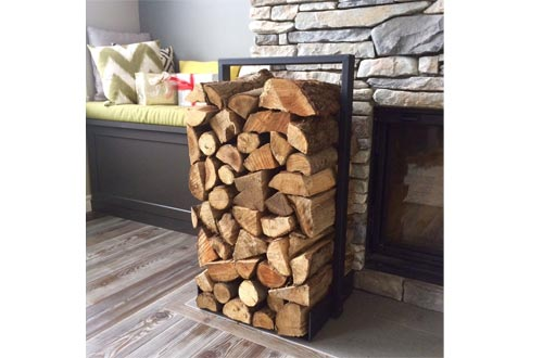Firewood log rack for home fire place decoration (indoor/outdoor) modern and rustic style (Black)