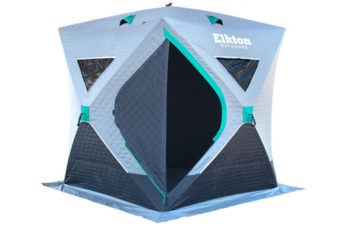 Elkton Outdoors Insulated Portable 3-4 Person Insulated Ice Fishing Tent