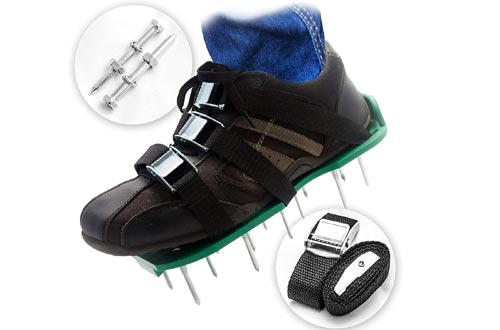 Pre Assembled Lawn Aerator Shoes with 4 Adjustable Straps | Ready to Use Premium Grass Aeration Sandals with Heavy Duty Metal Buckles & Secure Steel Spikes | 4th Strap, Extra Hardware & Instructions