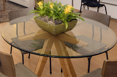 "Round Glass Table Top 3/8"" Thick Tempered Beveled Edge"