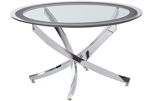 Coaster Occasional Group Contemporary Glass Top Chrome Coffee Table