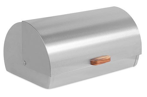 Internet's Best Stainless Steel Bread Box | Kitchen Food Storage Container | Metal Bread Holder | Roll Top (Silver)