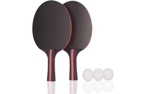 Jebor Professional Table Tennis Paddle Advanced Trainning Ping Pong Racket With Carry Case, 7 ply Wooden Blade with Long Handle