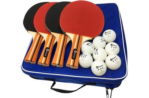 JP WinLook Ping Pong Paddle - 4 Pack Pro Premium Table Tennis Racket Set, 8 Balls, Professional/Recreational Game Racquet, Practice Training Bat, Accessories Bundle Portable Kit Cover Case Bag