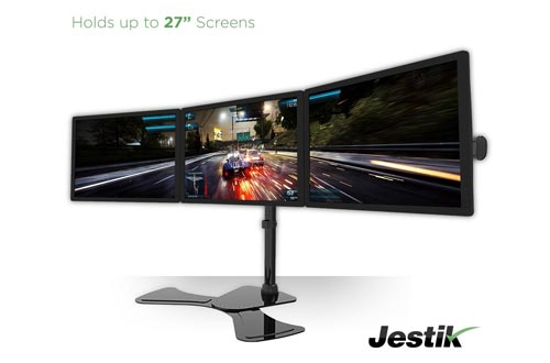 "Jestik Arc Triple Monitor Stand - LCD Monitor Stand, Monitor Mount, Triple Monitor Arm - Shift The Way You Work - Holds 3 Screens Up To 27"" Monitors, 17.6 lbs Capacity Per Mount"