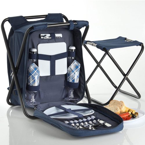 VonShef 2 Person Blue 2 in 1 Picnic Backpack Hamper