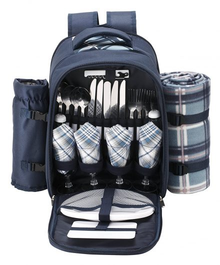 VonShef 4 Person Blue Tartan Picnic Backpack Bag-Picnic Backpacks