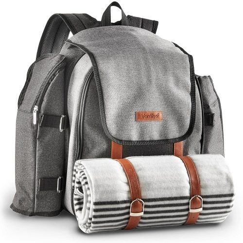 VonShef 4 Person Premium Outdoor Picnic Backpack Bag With Blanket