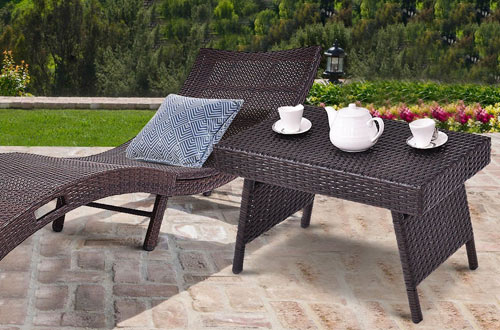 Tangkula Outdoor Wicker Table