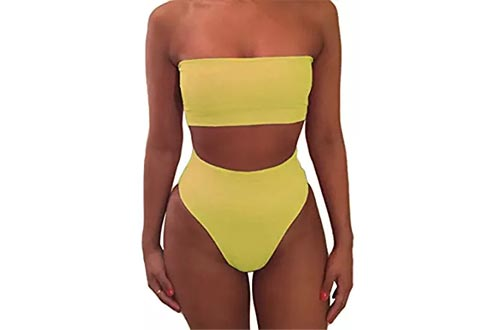 Pink Queen Women's Removable Strap Wrap Pad Cheeky High Waist Bikini Set Swimsuit