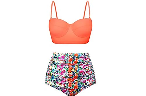 Aixy Women Swimsuits Bikinis Bathing Suits Retro Halter Underwired Top