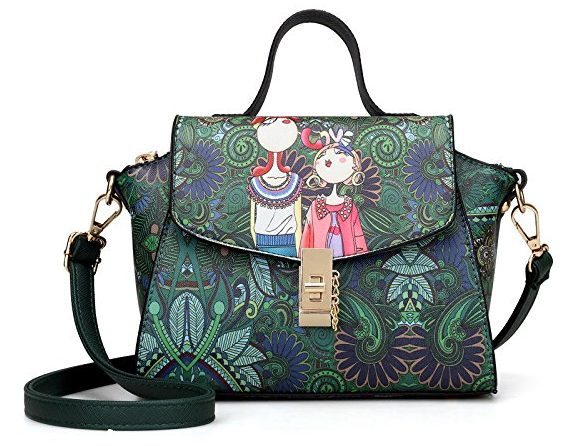 Yaton Embroidery Green Handbags for Women Shoulder Leather Bags