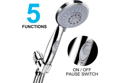 Chrider Handheld Shower Head with Hose, 5 Spray Setting Hand Held Shower Head with Pause Switch