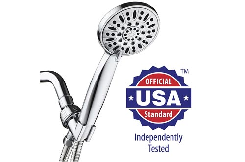 "AquaDance High Pressure 6-Setting 4"" Chrome Face Hand Held Shower Head with Hose for the Ultimate Shower Experience!"