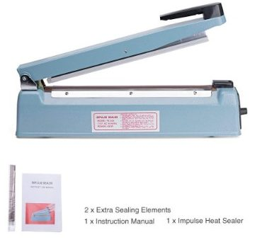 Metronic Impulse Bag Sealer Poly Bag Sealing Machine Heat Seal Closer with Repair Kit (12 inches)