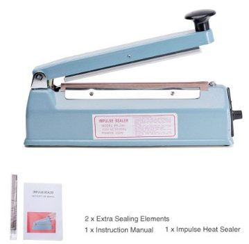 Metronic Impulse Bag Sealer Poly Bag Sealing Machine Heat Seal Closer with Repair Kit (8 inches)