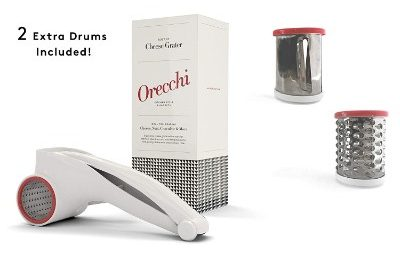 Orecchi Rotary Cheese Grater with Three Interchangeable Drums