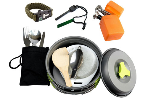 MalloMe Camping Cookware Mess Kit Backpacking Gear & Hiking Outdoors