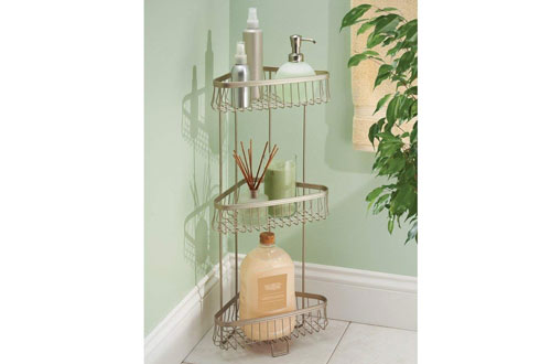 InterDesign York Lyra Free Standing Bathroom or Shower Corner Storage Shelves