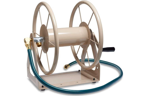 Multi-Purpose Steel Wall and Floor Mount Garden Hose Reel