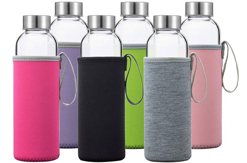 Glass Water Bottles 6 Pack Deluxe Set 18oz