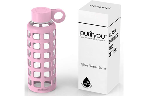 purifyou Premium Glass Water Bottle with Silicone Sleeve and Stainless Steel Lid