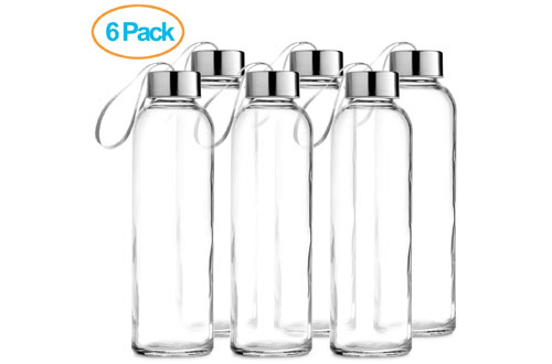 Chef's Star Glass Water Bottle 6 Pack 18oz Bottles For beverages