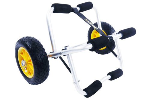 Bonnlo Kayak Cart Canoe Carrier Trolley with NO-FLAT Airless Tires Wheels
