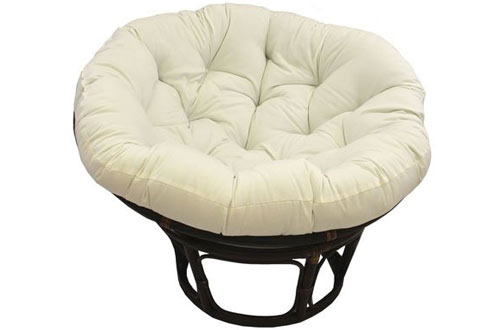 Rattan Papasan Chair with Solid Twill Cushion