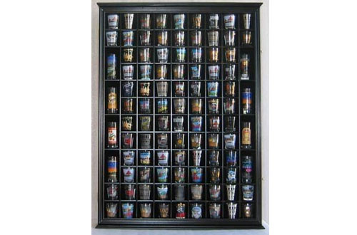 28 Shot Glass Shooter Display Case Holder Cabinet Rack NO Door, solid wood