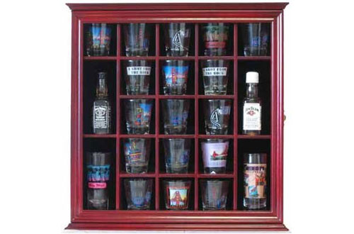 21 Shot Glass Shooter Display Case Holder Rack Wall Cabinet