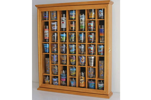 41 Shot Glass Display Case Holder Cabinet Wall Rack With Glass Door