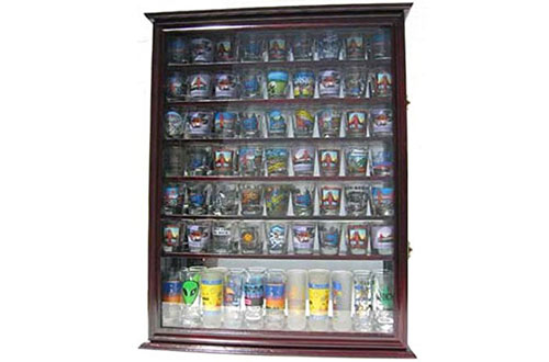 Large 72 Shot Glass Display Case Cabinet Rack Holder-Mirror Back