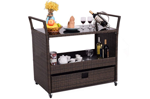 Giantex Rolling Portable Rattan Wicker Kitchen Trolley Cart