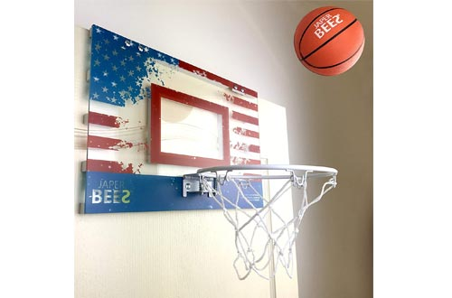 JAPER BEES Patriotic Thick Shatterproof Backboard Over Door Mini Basketball Hoop