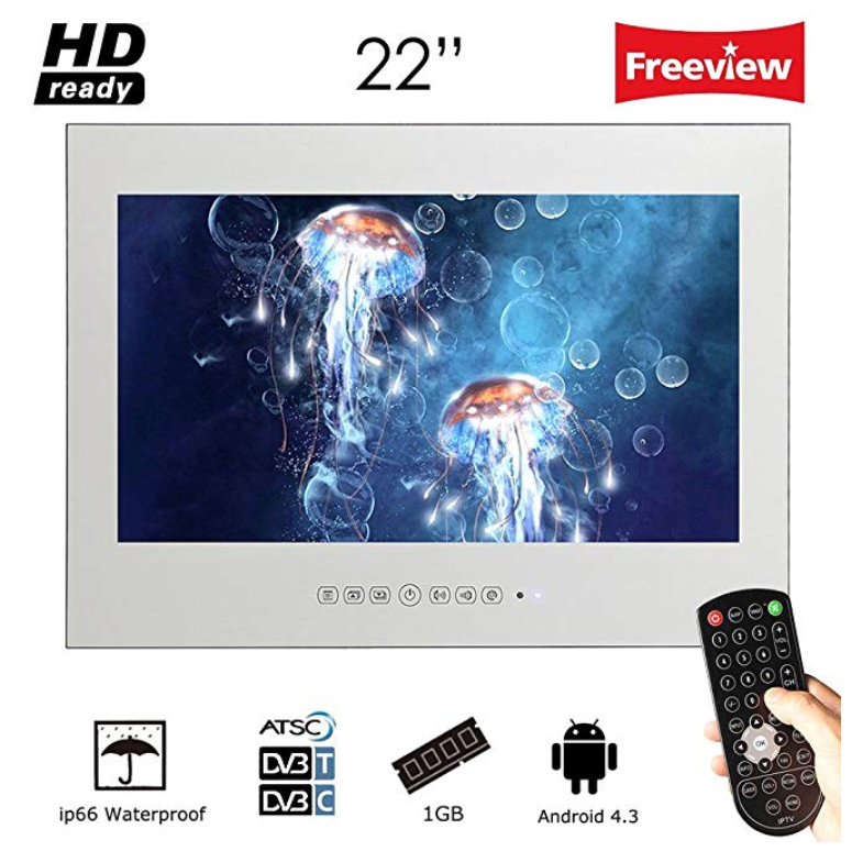 Soulaca 22 inch Frameless Smart Waterproof Magic Mirror Bathroom TV
