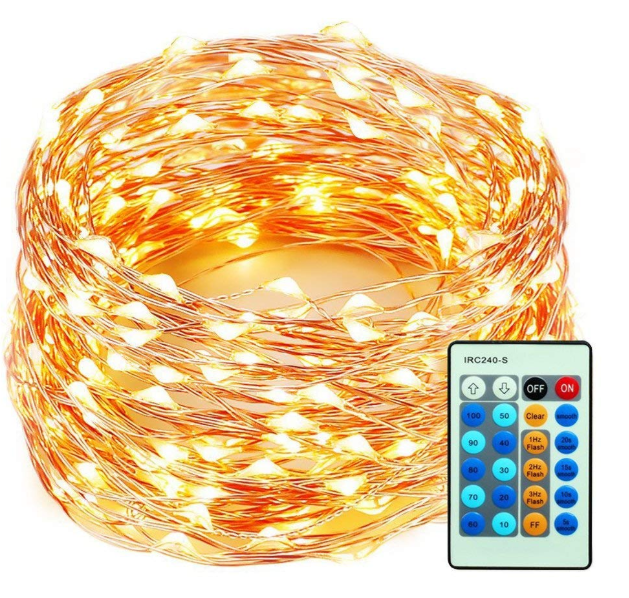 99 Feet 300 LEDs Copper Wire String Lights Dimmable with Remote Control