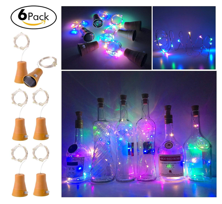 6 Pack Solar Powered Wine Bottle Lights