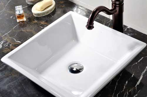 VCCUCINE White Square Above Counter Porcelain Ceramic Vessel Vanity Bathroom Sink
